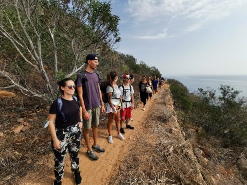 hiking with team